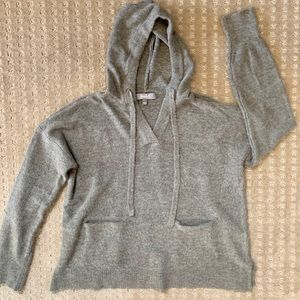 Super soft gray hoodie with front pockets.